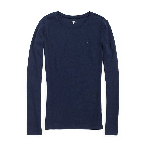 Tommy Hilfiger Tops   Th Navy Blue Favorite Long Sleeve Crew Neck ... f26a81a07c